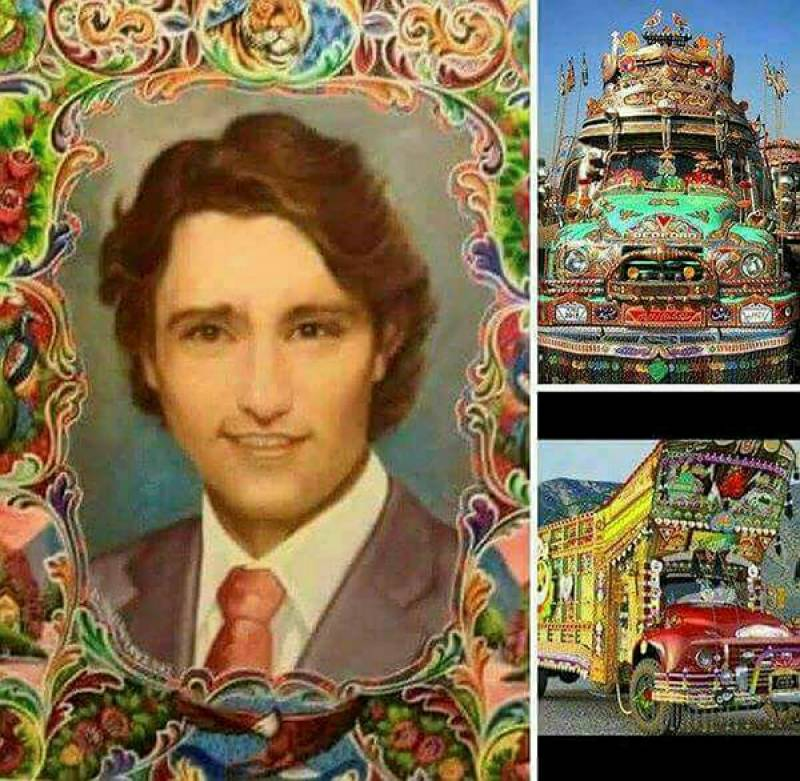 پاکستانی ٹرک پر کینیڈین وزیراعظم کی تصویر،شہرت کینیڈا کے اخبارات تک جا پہنچی