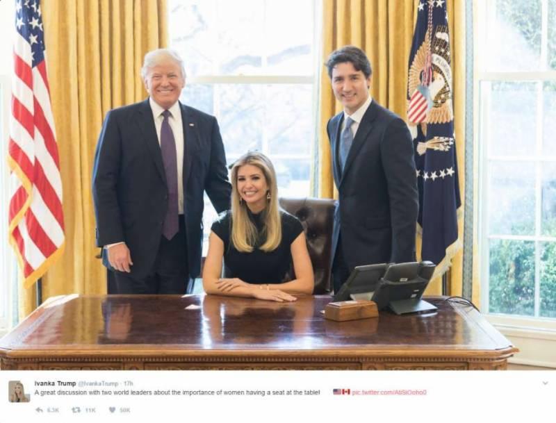 ایوانکا ٹرمپ کو صدارتی کرسی پر بیٹھنے کے بعد شدید تنقید کا سامنا