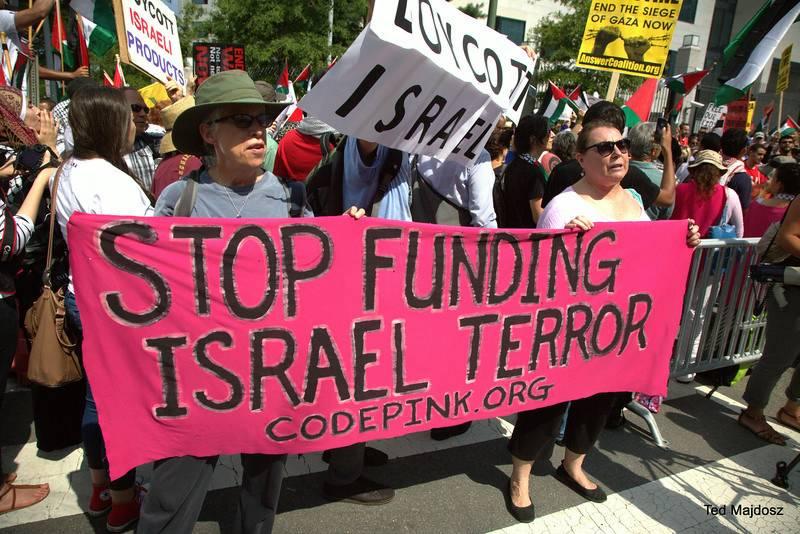 واشنگٹن میں اسرائیلی مظالم کے خلاف مظاہرہ