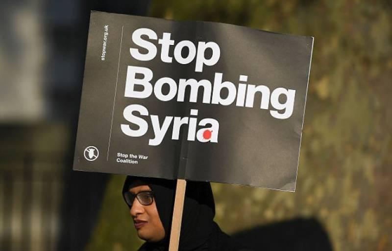 امریکہ اور برطانیہ میں شام پر حملے کیخلاف احتجاجی مظاہرے