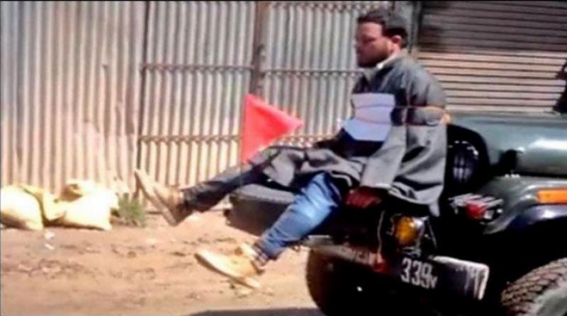 کشمیری نوجوان کو جیپ سے باندھنےوالے بھارتی فوجی کیخلاف مقدمہ درج