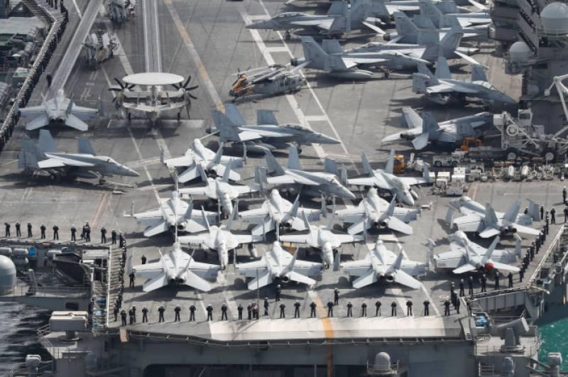 امریکہ اور جنوبی کوریا کی مشترکہ بحری مشقیں،تین امریکی طیارہ بردار بحری جہاز بھی شریک
