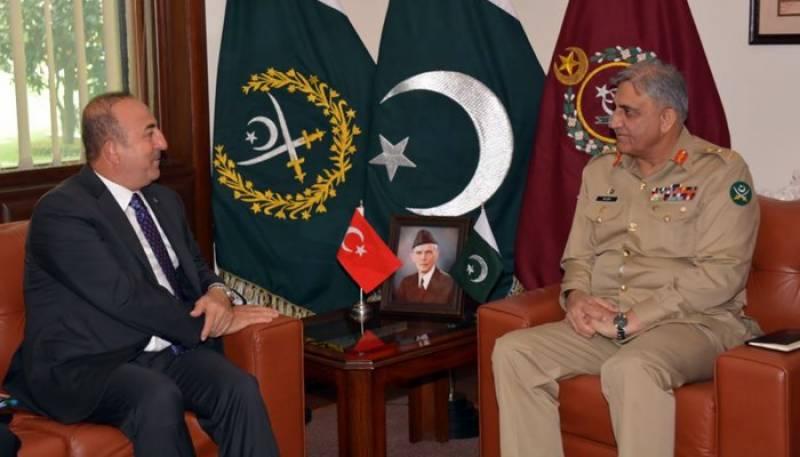 آرمی چیف سے ترک وزیرخارجہ کی ملاقات، علاقائی صورتحال پر تبادلہ خیال