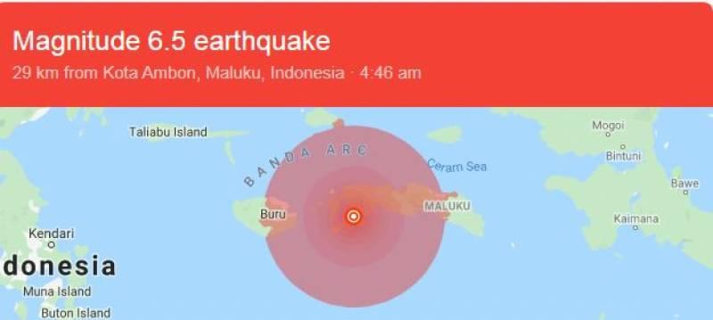 انڈونیشیا میں 6.5شدت کے زلزلے نے تباہی مچا دی