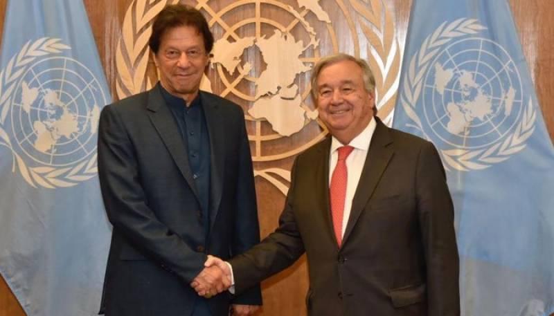 وزیراعظم کی اقوام متحدہ کے سیکریٹری جنرل سے ملاقات، مسئلہ کشمیر پر گفتگو