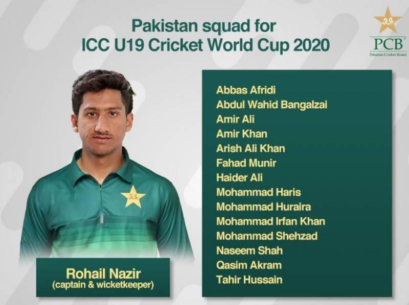 انڈر 19 کرکٹ ورلڈ کپ ، قومی سکواڈ کا اعلان ،نسیم شاہ ٹیم کا حصہ