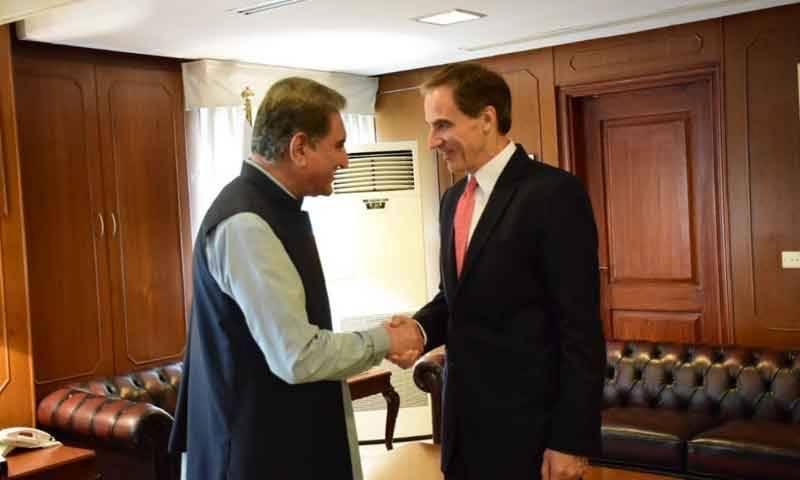 امریکی ناظم الامور پال جونز کی وزیر خارجہ شاہ محمود قریشی سے الوداعی ملاقات