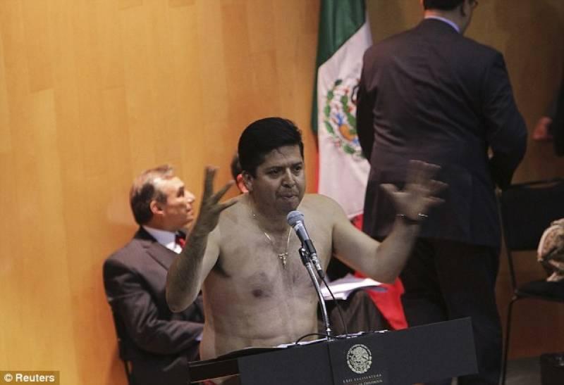 میکسیکو : پارلیمنٹرین نےاجلاس کے دوران کپڑے اتار دیئے