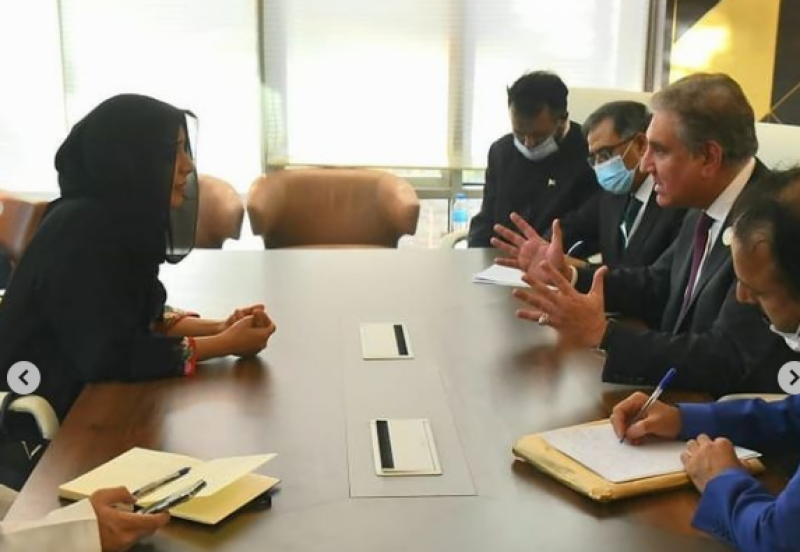 UAE Minister Reem Al-Hashimi meets Shah Mehmood, Foreign Minister briefs him on visa issues