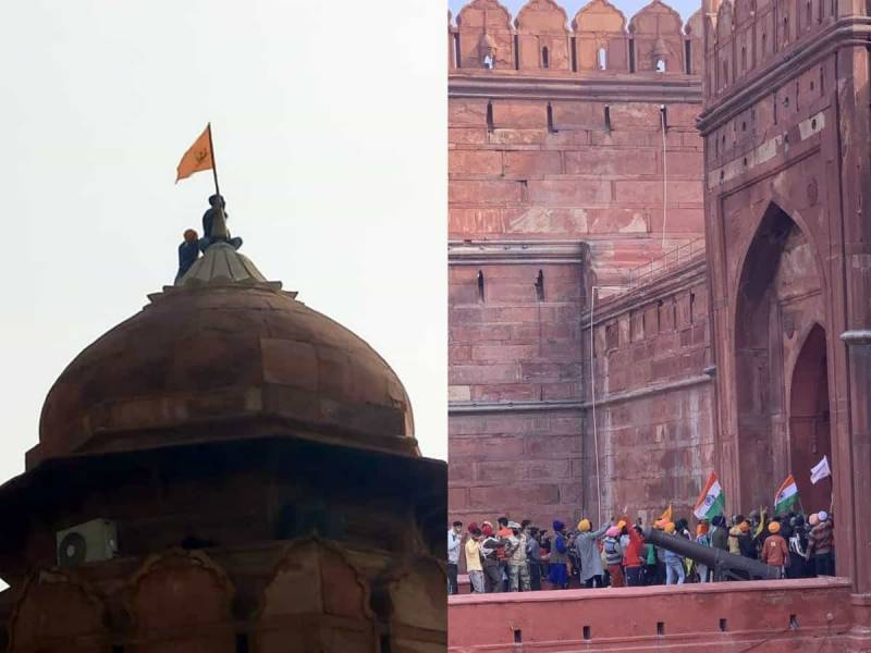 سکھوں نے لال قلعہ پر خالصتان کا پرچم لہرا دیا
