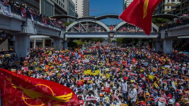 میانمار میں فوجی بغاوت کے خلاف مظاہروں کا سلسلہ جاری