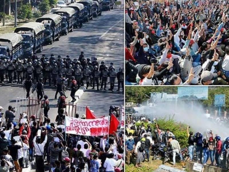 رنگون میں فوجی بغاوت کے خلاف مظاہرے ، پولیس کی فائرنگ 6 افراد ہلاک