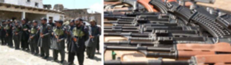 حساس اداروں کی اطلاعات پر لیویز فورس کا بڑا آپریشن ، بھاری مقدار میں اسلحہ برآمد