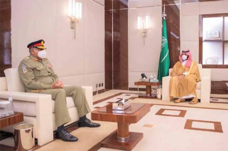 آرمی چیف کی محمد بن سلمان سے ملاقات، باہمی دلچسپی کے امور پر گفتگو