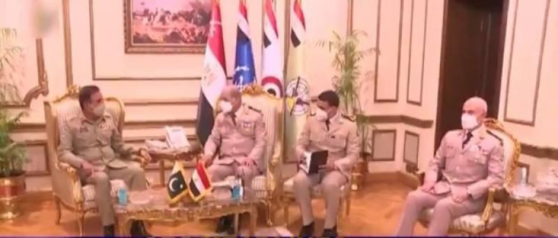 چیئرمین جوائنٹ چیفس آف اسٹاف کمیٹی جنرل ندیم رضا کی مصر کے صدر سے ملاقات