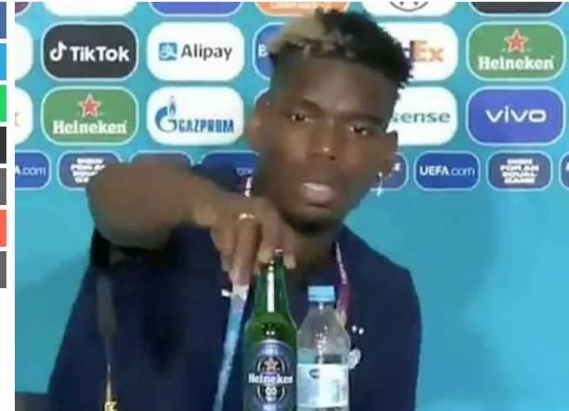 مسلم فٹبالر نے پریس کانفرنس میں سامنے رکھی بیئرکی بوتل ہٹادی