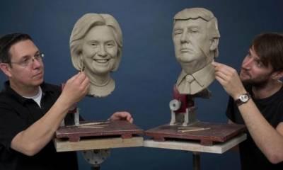 مادام تسائو عجائب گھر میں ڈونلڈ ٹرمپ کا مجسمے کی تیاری