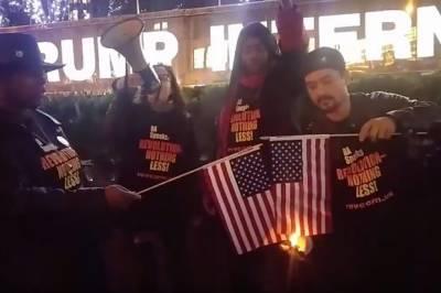 ڈونلڈ ٹرمپ کے ٹوئٹ کا ردعمل مزید امریکی پرچم نذر آتش