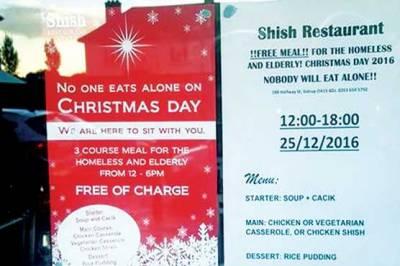 ریستوران کے مسلمان مالک کا کرسمس پر مفت کھانا کھلانے کا اعلان