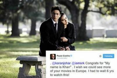 """مصنف """"پاولو کویلو """" نے شاہ رخ خان کو """"آسکر """" کا حق دار قرار دےد یا"""