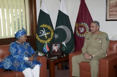 آرمی چیف سے جنوبی افریقہ کی وزیر دفاع کی ملاقات، اہم امور پر تبادلہ خیال