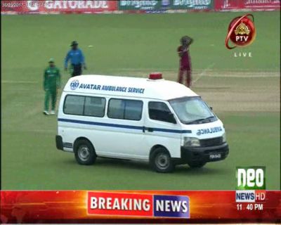 احمد شہزاد ویسٹ انڈیز کے کھلاڑی سے ٹکرا کر دشدید زخمی ہو گئے