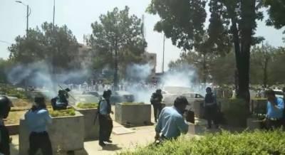 کسانوں کی پارلیمنٹ کی طرف جانے کی کوشش، پولیس کی شیلنگ