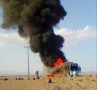 ایرانی بارڈر کے قریب پاکستانی زائرین کی بس میں آتشزدگی سے 5 افراد جھلس گئے