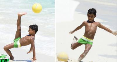کرسٹیانو رونالڈو کے بیٹے کی فٹبال کھیلنے کی ویڈیو وائرل ہو گئی