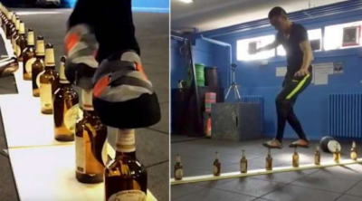 اطالوی شخص نے شیشے کی بوتلوں پر 10 میٹر تک دوڑ کر عالمی ریکارڈ قائم کردیا