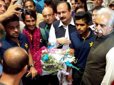 وطن واپسی پر قومی ٹیم کے کھلاڑیوں کا شاندار استقبال