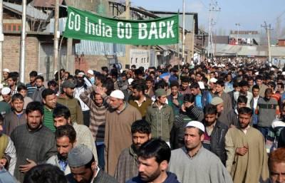 مقبوضہ کشمیرمیں کرفیو اور پابندیوں کے باوجودبھارت مخالف مظاہرے