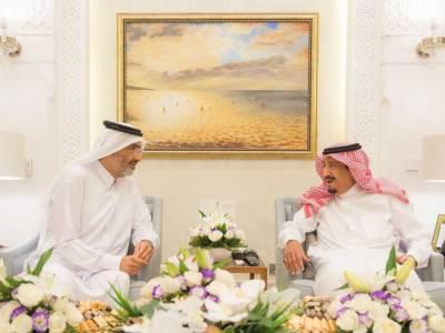 اہم قطری رہنما کی شاہ سلمان بن عبدالعزیز سے ملاقات