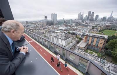 16منزلہ عمارت کی چھت پر ٹریک بنوا دیا گیا