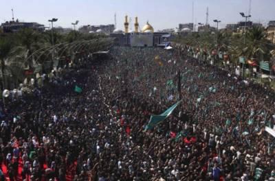 لاکھوں زائرین کی کربلا میں حضرت امام حسینؓ کے روضہ پر حاضری