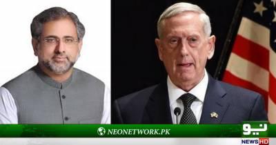 وزیراعظم شاہدخاقان عباسی سے امریکی وزیردفاع جیمزمیٹس کی ملاقات