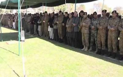 سوات دھماکے کے شہدا کی نماز جنازہ ادا، آرمی چیف سمیت دیگر کی شرکت