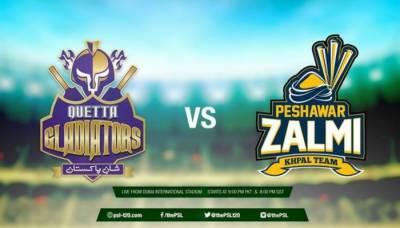 پاکستان سپر لیگ کے دسویں میچ میں آج پشاور زلمی اور کوئٹہ گلیڈی ایٹرز مد مقابل ہونگے