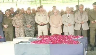 رائیونڈ خودکش حملے میں شہید اہلکاروں کی نماز جنازہ ادا کر دی گئی
