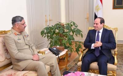 مصر کے صدر السیسی سے چیئرمین جوائنٹ چیفس آف سٹاف کمیٹی جنرل زبیر محمود حیات کی ملاقات