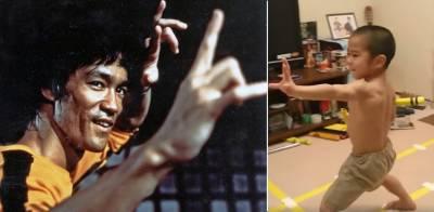 مارشل آرٹس (کراٹوں) کے ماہر استاد بروس لی کے ننھے مداح نے تہلکہ مچادیا