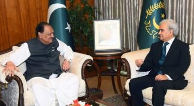 صدر ممنون حسین کی نگران وزیراعظم سے ملاقات، انتخابات سے متعلق امور پر تبادلہ خیال