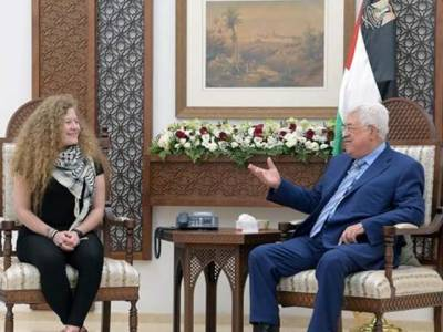 رہائی کے بعد عہد تمیمی کی فلسطینی صدر سے ملاقات