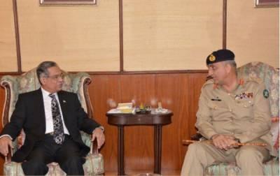 آرمی چیف جنرل قمر باجوہ کی چیف جسٹس پاکستان ثاقب نثار سے ملاقات