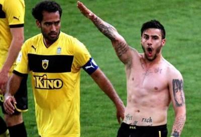 نازی سلیوٹ مہنگا پڑگیا،یونانی فٹبالر کو تاحیات پابندی کا سامنا