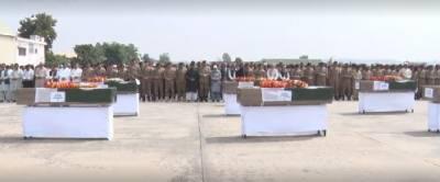 شمالی وزیرستان میں شہید ہونے والے پاک فوج کے جوانوں کی نمازہ جنازہ ادا کر دی گئی