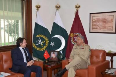 آرمی چیف سے ترک سفیر کی ملاقات،باہمی دلچسپی کے امور پر تبادلہ خیال