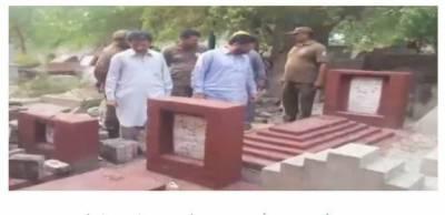 لاہور کے اہم ترین قبرستان میں تجاوازت کے خلاف آپریشن ، مرحومہ شوکت خانم کا احاطہ بھی مسمار
