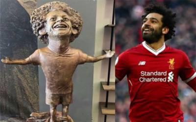 مصری فٹ بالر محمد صلاح کے مجسمے کی تیاری