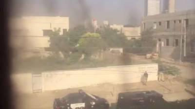 کراچی، چینی قونصل خانے پر حملہ، 3دہشت گرد ہلاک، 2 پولیس اہلکار وں سمیت 4افراد شہید